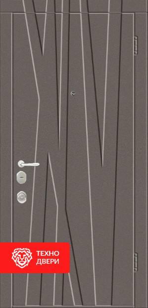 Дверь рис. Лес — металл напыление / МДФ белый, 22274 внешняя сторона