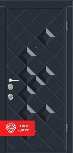 Дверь черная и белая МДФ с рисунком ромбом, 22275 внешняя сторона