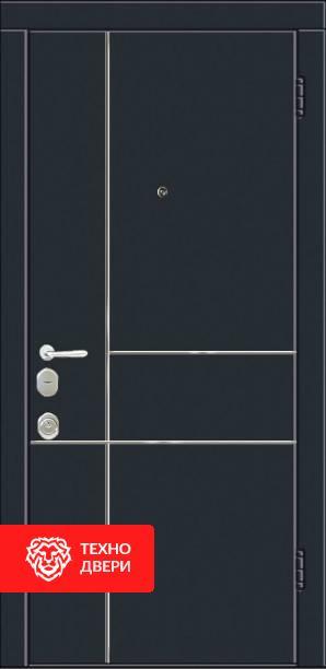 Дверь МДФ Чёрная с линиями / Белая с линиями, 22273 внешняя сторона