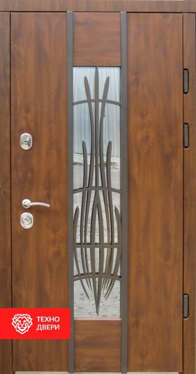Дверь пленка ПВХ Vinorit с ковкой и стеклопакетом, 23928 внешняя сторона
