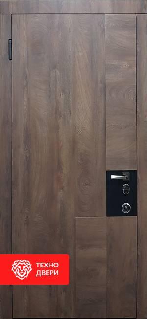 Дверь МДФ под дерево Тёмно коричневая / Светло коричневая, 21972 внешняя сторона