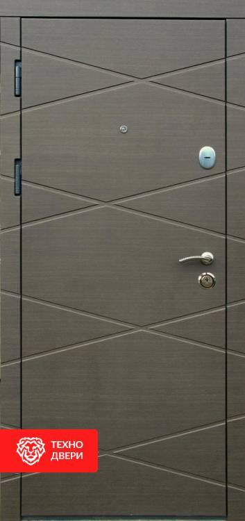 Дверь МДФ коричневый Графика / Белый, 22339 внешняя сторона