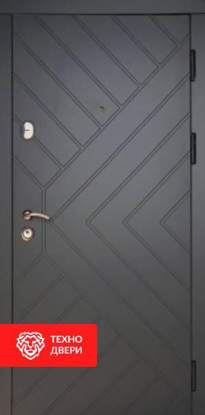 Дверь чёрная с геометрическим узором Гранит, 22631 внешняя сторона