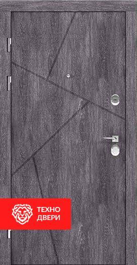 Дверь МДФ с рисунком Ромбы Тёмно Серая / Серая, 24192 внешняя сторона