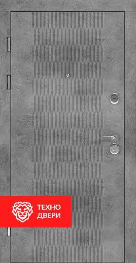 Дверь серая с гофрированным рисунком / черное напыление, 24197 внешняя сторона