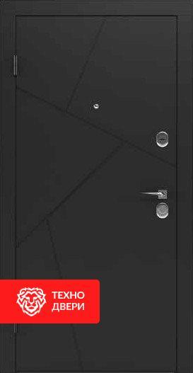 Дверь матовое Черное напыление / Белый МДФ, 24185 внешняя сторона