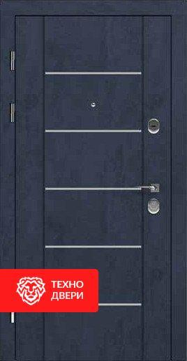 Дверь усиленная иссиня-чёрная и светло-серая внутри, 24196 внешняя сторона
