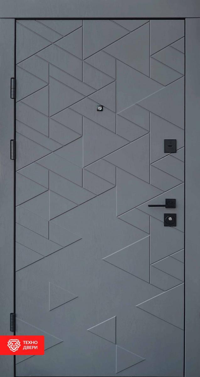 Дверь металл/МДФ белая рис.Треугольники, 28228 внешняя сторона