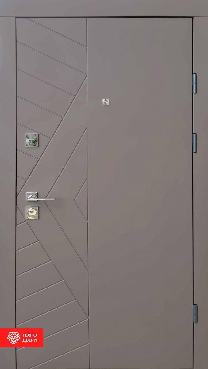 Дверь усиленная металл светло-серый / МДФ белый, спил, 28230 внешняя сторона
