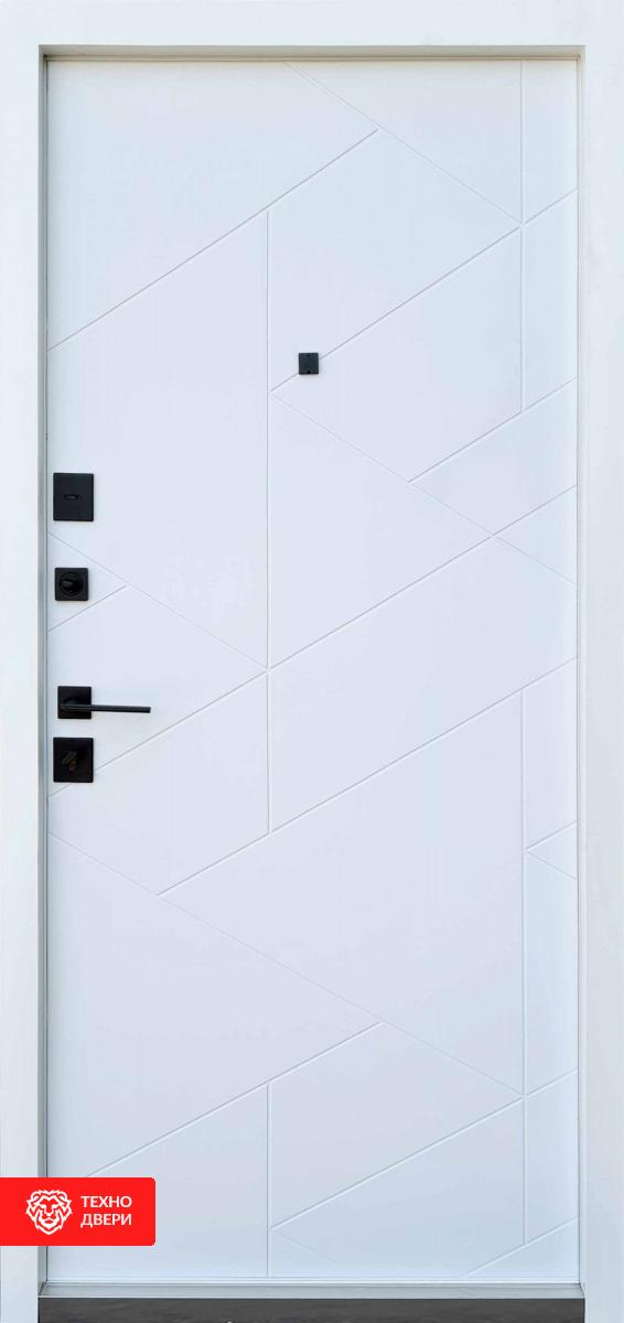 Дверь металл/МДФ белая рис.Треугольники, 28228 внутреняя сторона