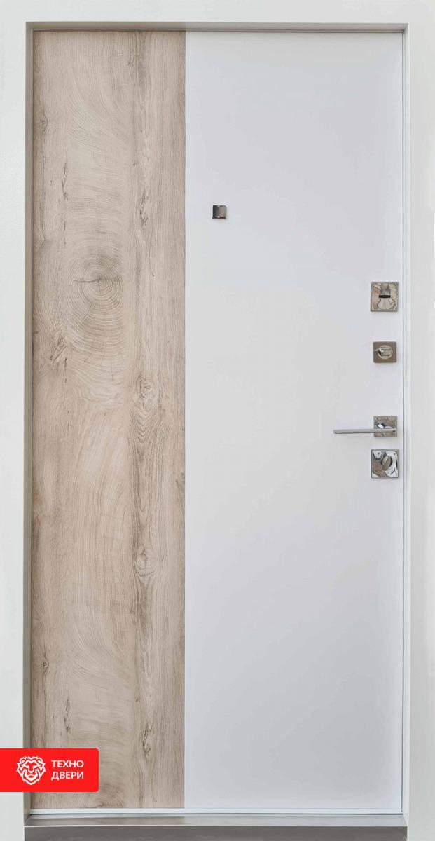 Дверь усиленная металл светло-серый / МДФ белый, спил, 28230 внутреняя сторона