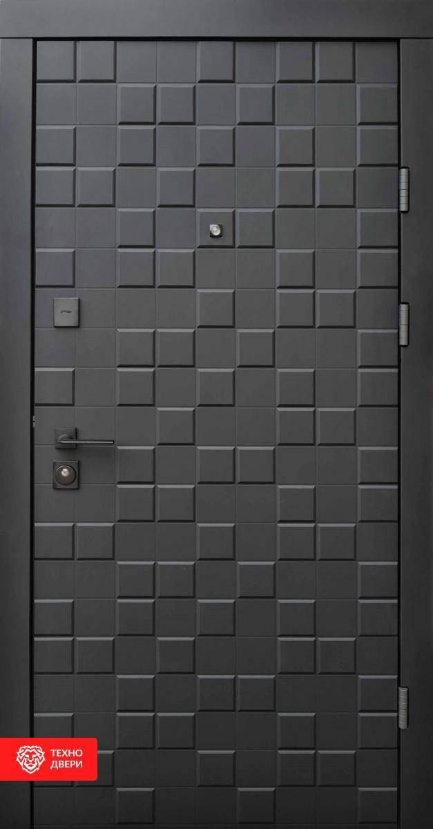 Дверь МДФ накладка серый цвет рисунок Квадро, 100028 внешняя сторона