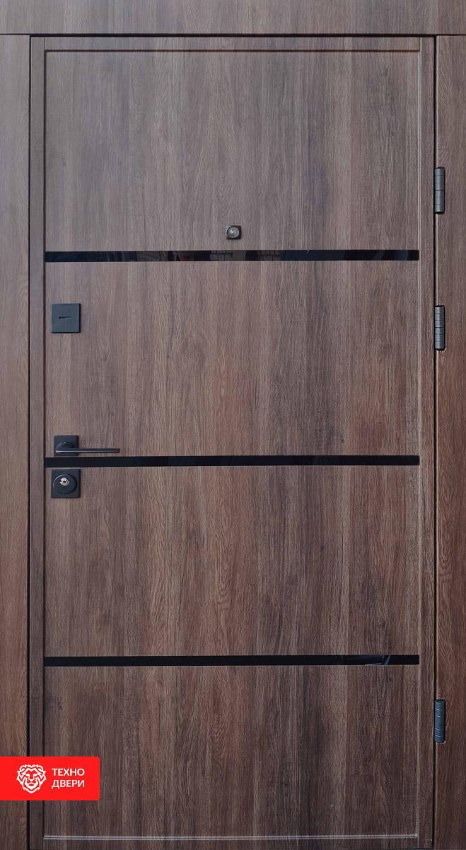 Дверь МДФ дуб красный декор лакобель / МДФ белый, 28229 внешняя сторона