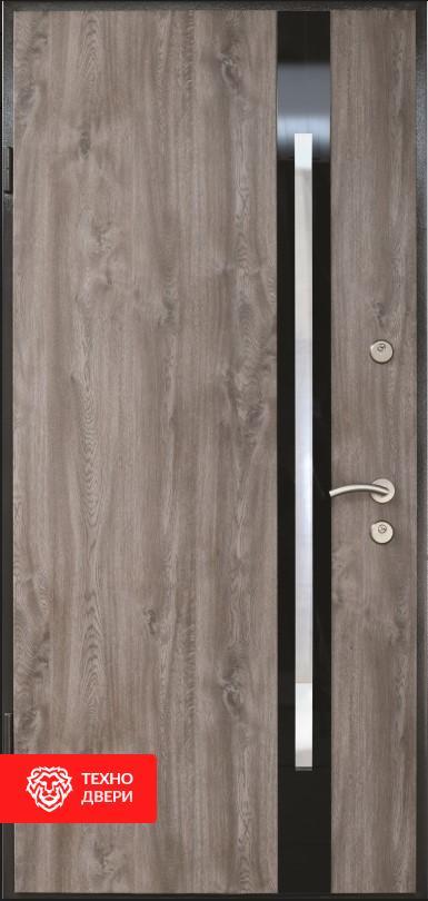 Дверь МДФ серый дуб со стеклом и вставками лакобель, 26463 внешняя сторона