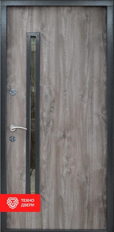 Дверь МДФ серый дуб со стеклом и вставками лакобель, 26463 внутреняя сторона