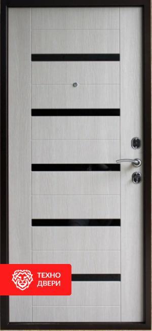 Дверь с терморазрывом коричневый / МДФ с черными стеклами лакобель, 27681 внутреняя сторона