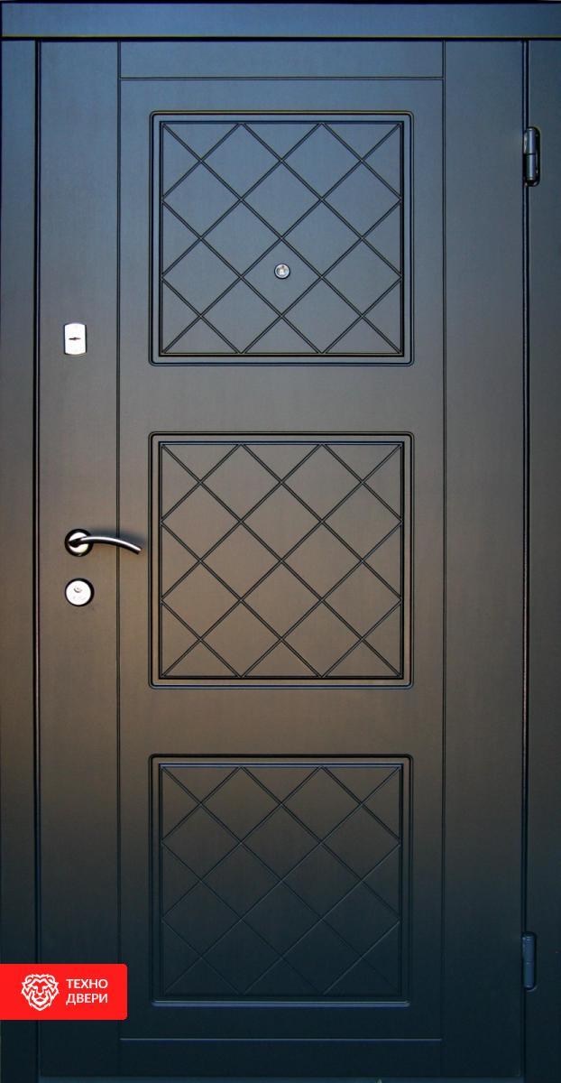 Дверь отделка МДФ с двух сторон рис.Клетка, 10017 внешняя сторона