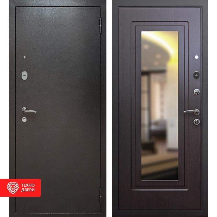 Входная металлическая дверь с зеркалом Серебро / Венге, 3519