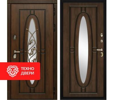 Входная уличная дверь с окном и ковкой Дуб темный / Дуб темный, 5998