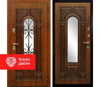 Входная уличная дверь окном и ковкой Дуб золотой / Дуб золотой, 5996